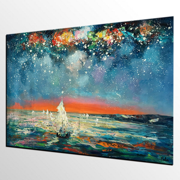 Heavy Texture Painting, Starry Night Sky, Abstract Landscape Painting, Impasto Art, Palette Knife Art, Original Artwork