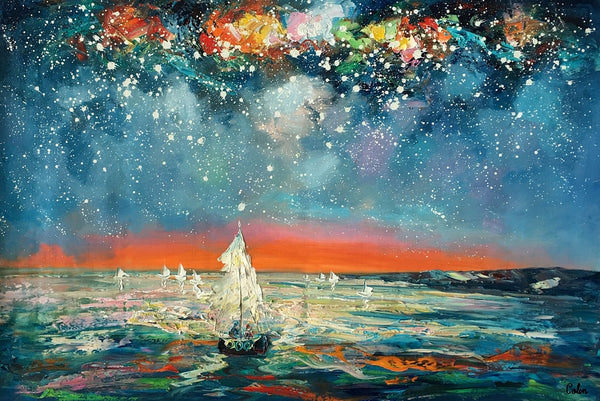 Heavy Texture Painting, Starry Night Sky, Abstract Landscape Painting, Impasto Art, Palette Knife Art, Custom Artwork