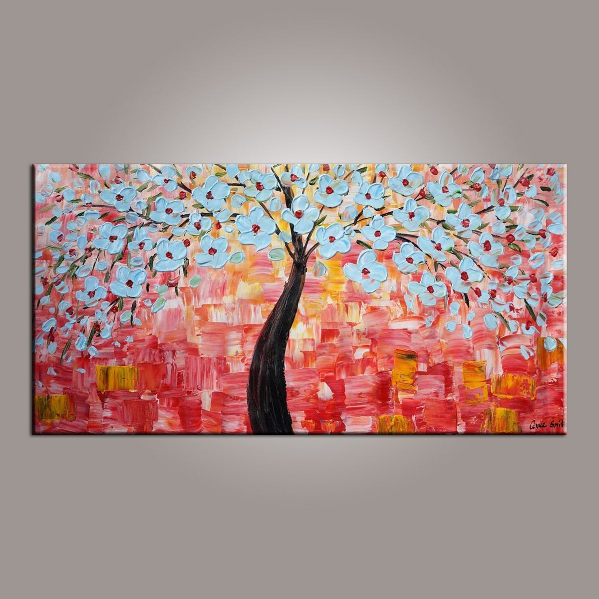 Flower art abstract art painting tree painting painting on sale canvas wall