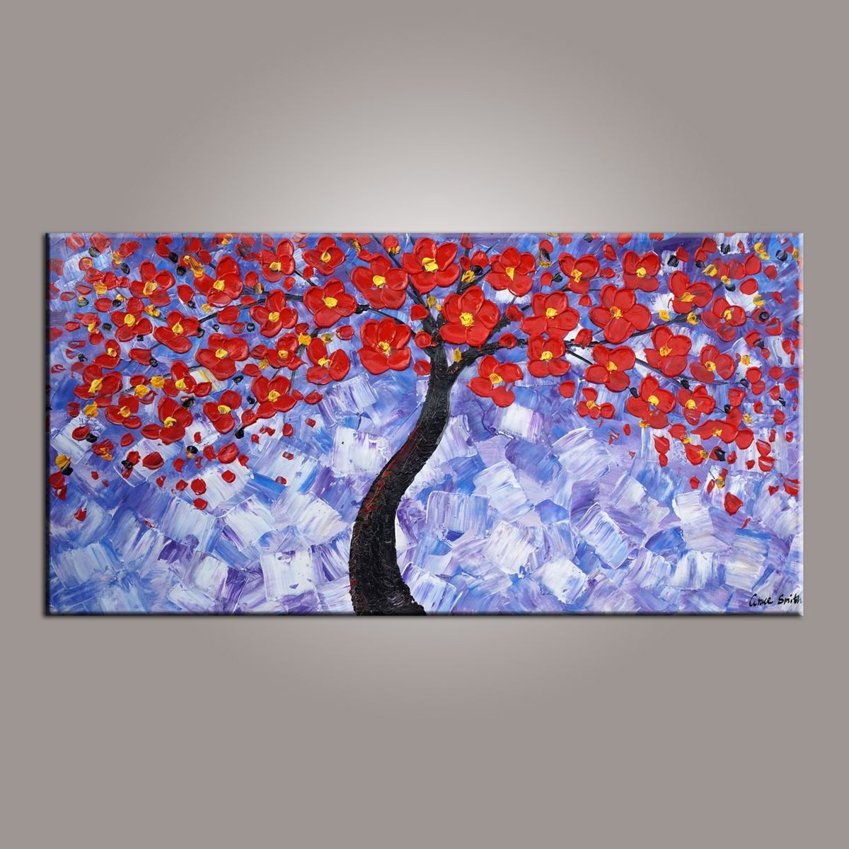 Painting on sale flower art abstract art painting tree painting canvas wall