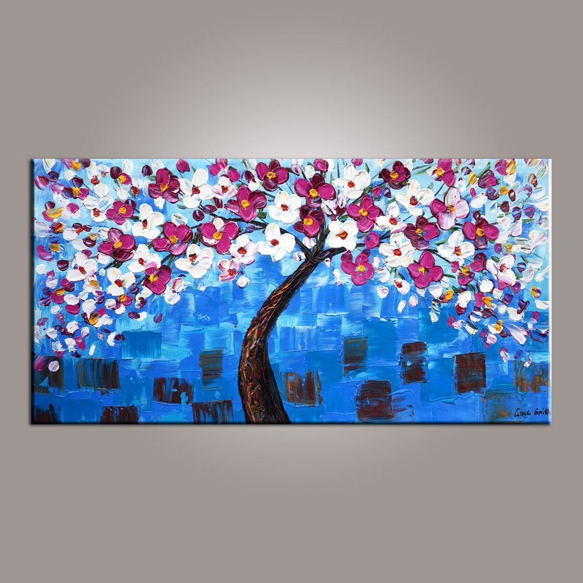 Flower tree painting abstract art painting painting on sale canvas wall art