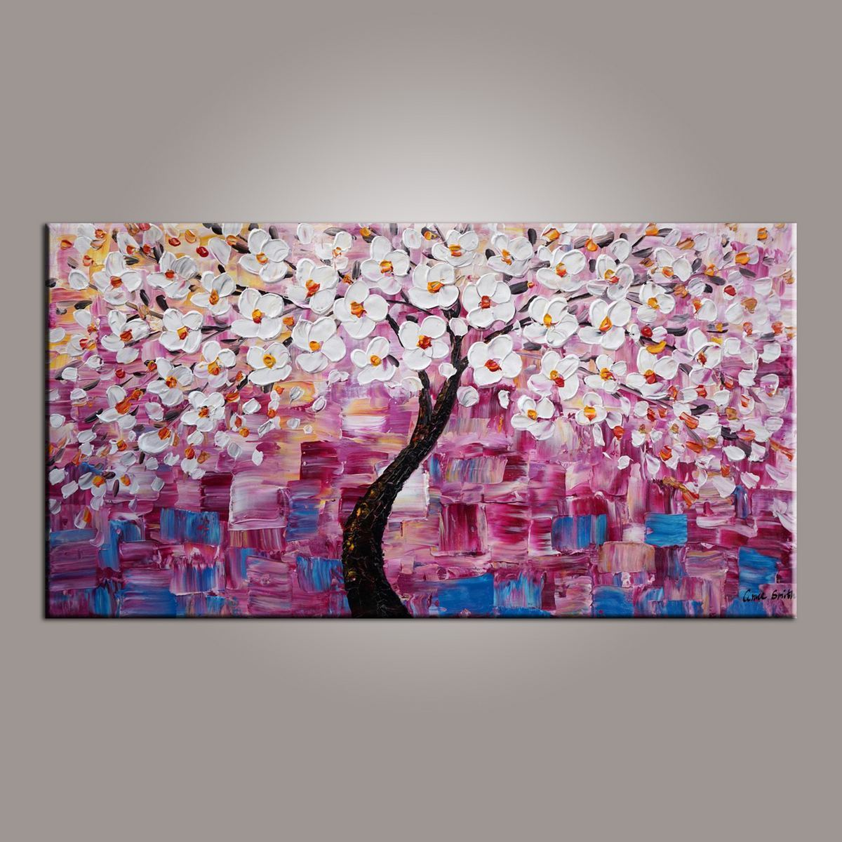 Flower tree painting art on sale abstract art painting dining room wall art