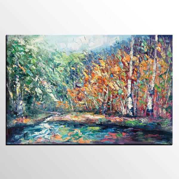 Landscape Painting, Autumn Tree Wall Art, Large Canvas Art, Custom Large Original Artwork, Canvas Painting - artworkcanvas