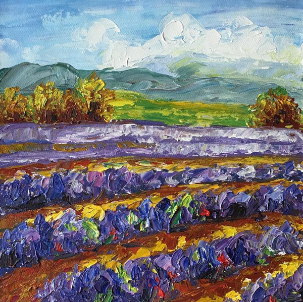Abstract Art Painting, Lavender Field Painting, Canvas Painting, Small Painting - artworkcanvas