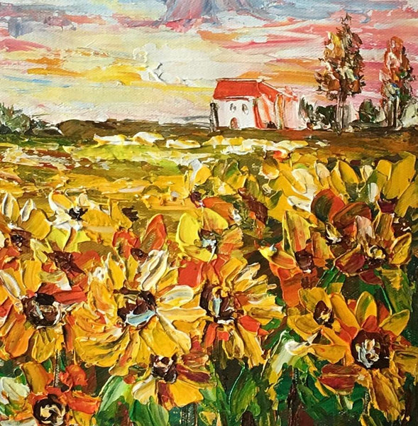 Abstract Art Painting, Flower Painting, Sunflower Field Painting, Small Landscape Painting-artworkcanvas