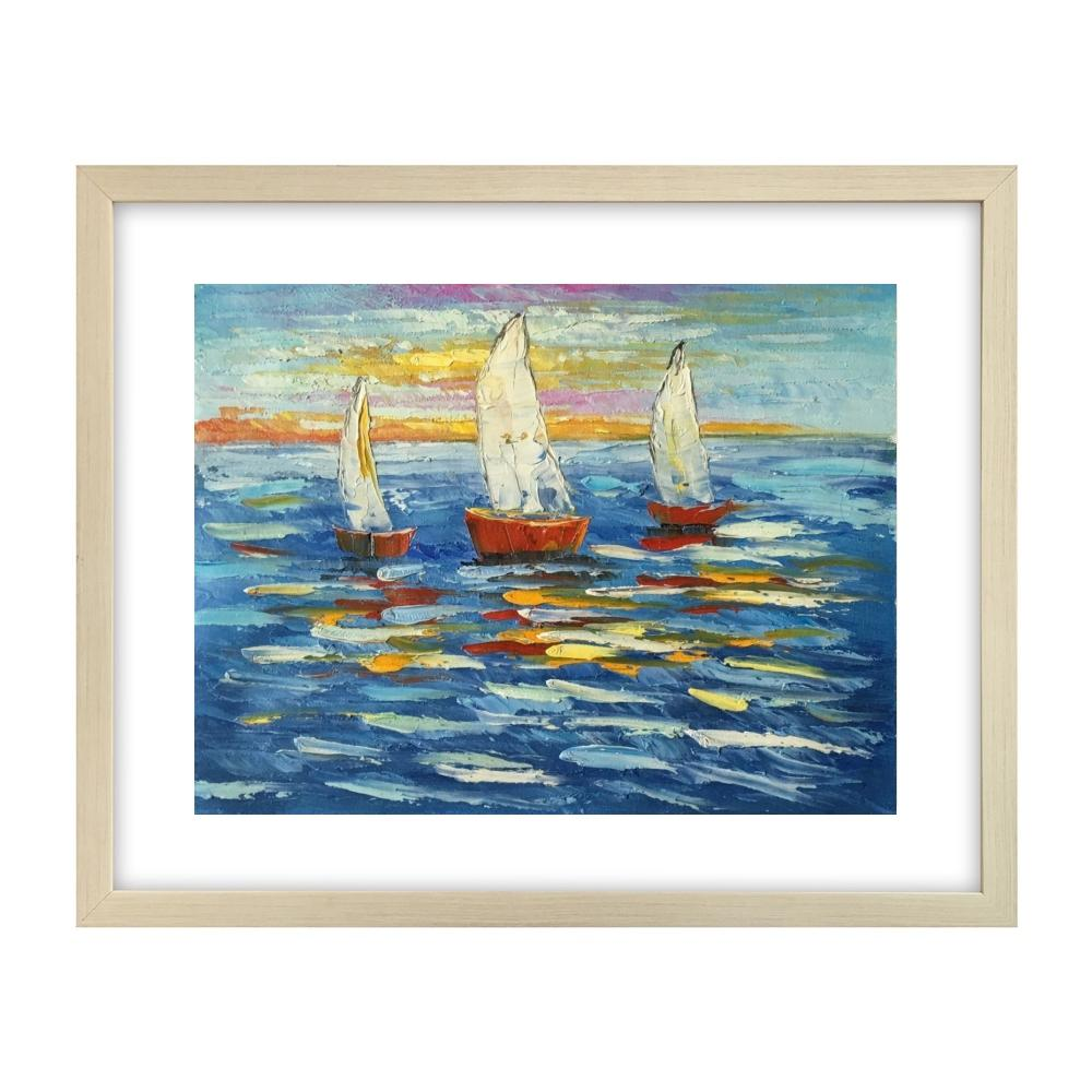Original Art Painting, Sail Boat at Sea Painting, Small Art Painting, Small Canvas Painting