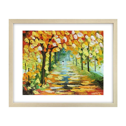Forest Landscape Painting, Autumn Tree Painting, Original Painting, Small Art Painting