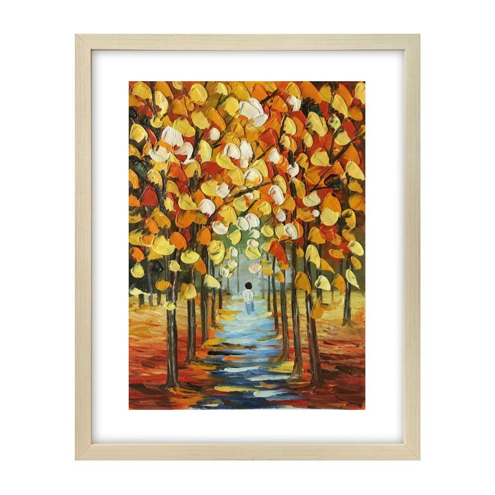Small Art, Original Landscape Painting, Autumn Tree Painting, Heavy Texture Painting - artworkcanvas