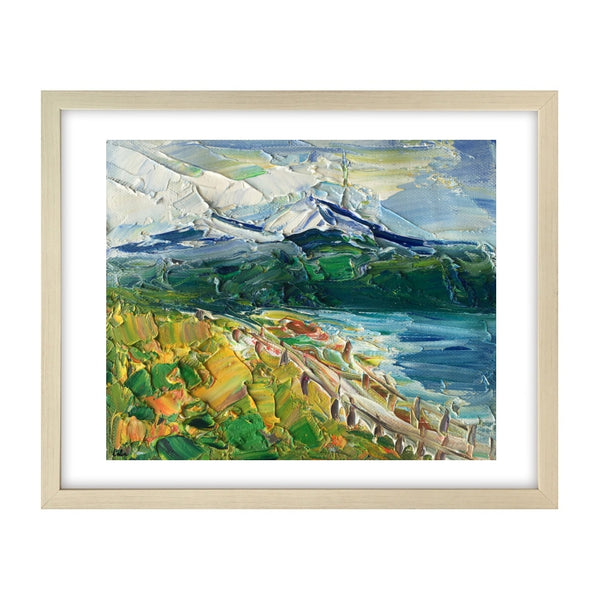 Canvas Wall Art, Small Painting, Heavy Texture Oil Painting, Mountain Lake Painting, 9X11 inch