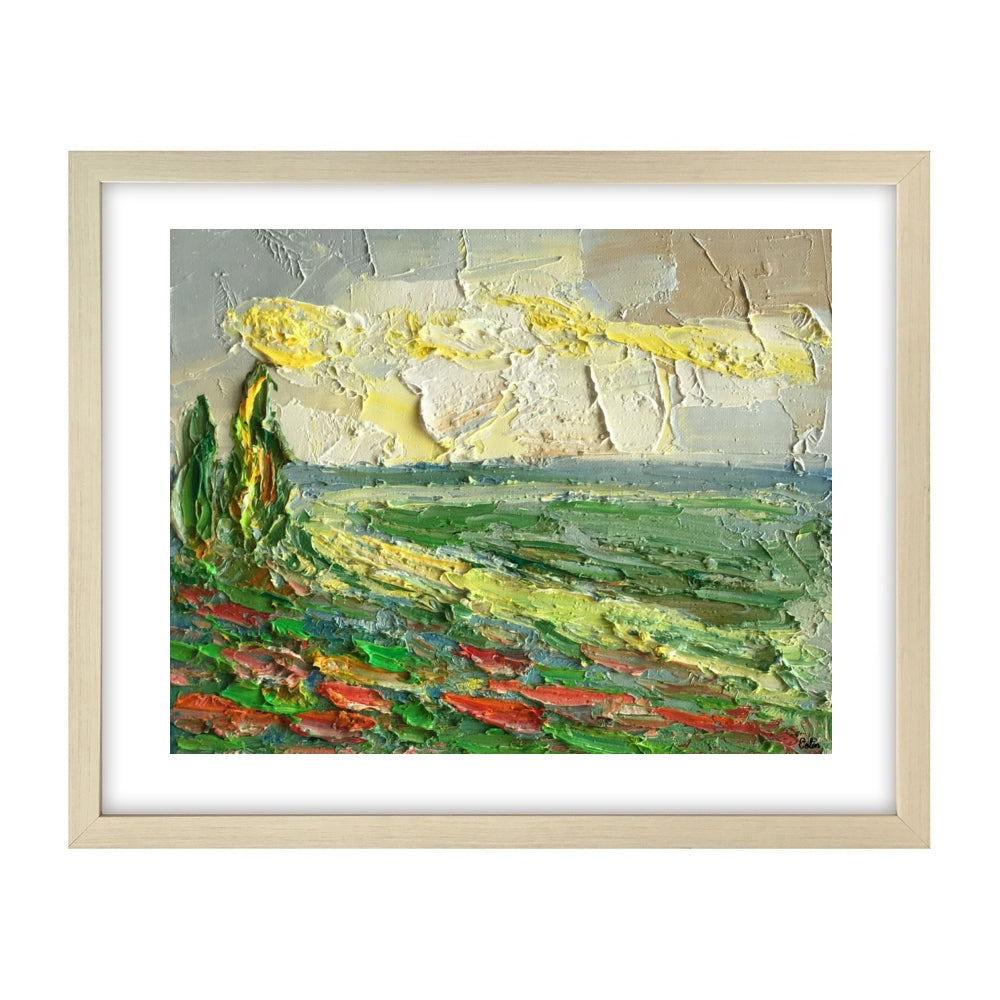 Landscape Painting, Cypress Landscape Painting, Small Oil Painting, Heavy Texture Oil Painting - artworkcanvas