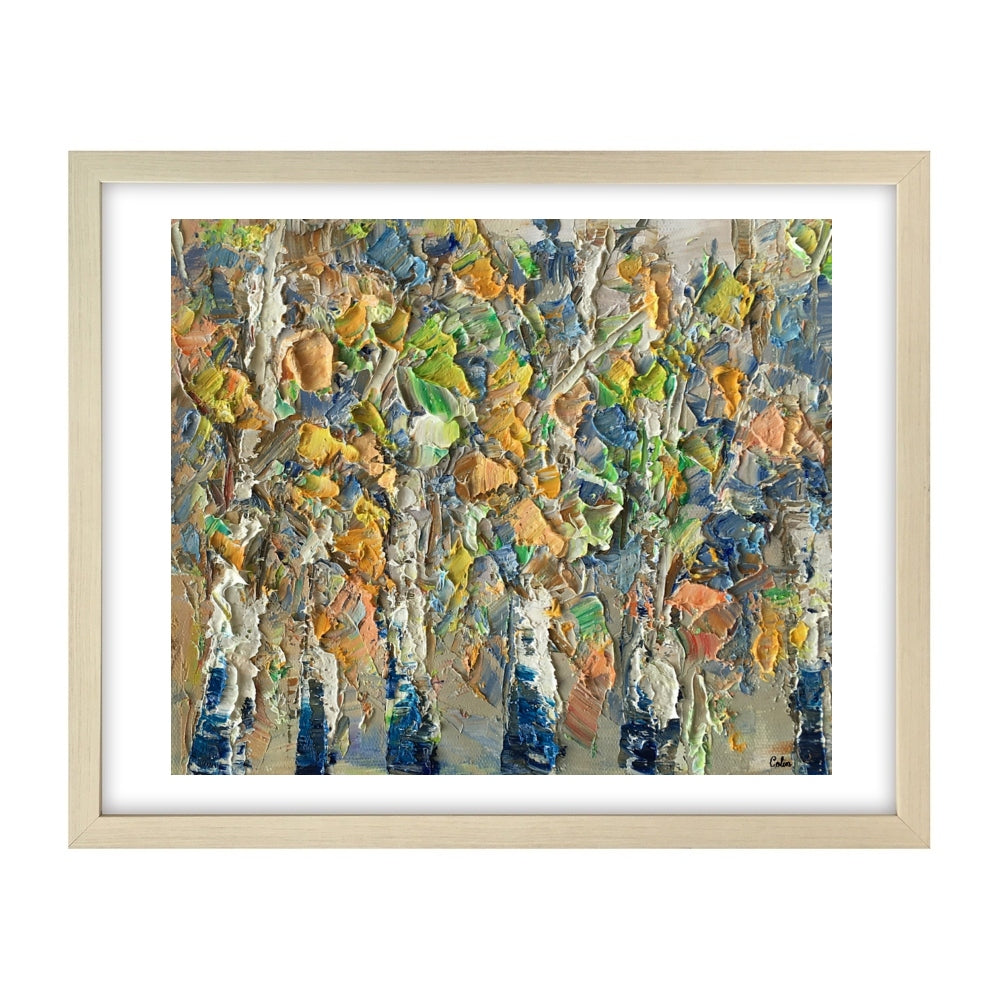 Abstract Painting, Autumn Birch Tree Painting, Small Oil Painting, Heavy Texture Art - artworkcanvas