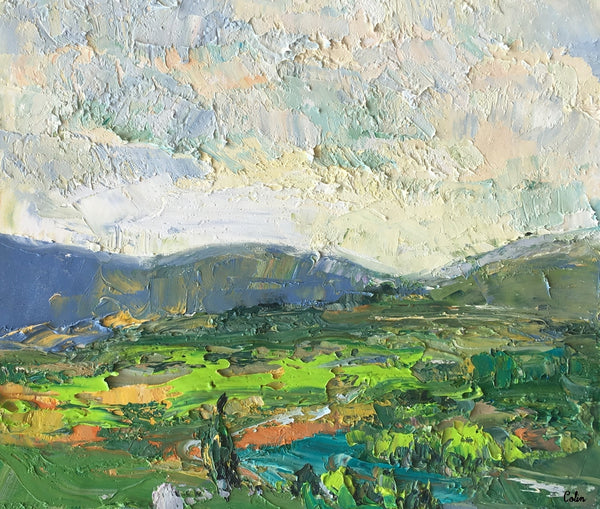 Abstract Landscape Painting, Cypres and Mountain Painting, Small Oil Painting, Impasto Art - artworkcanvas