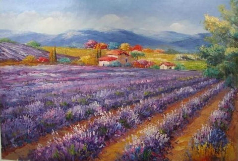Canvas Painting, Landscape Painting, Lavender Field, Wall Art, Large Painting, Living Room Wall Art, Oil Painting, Canvas Art, Autumn Painting
