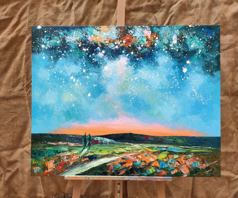 Abstract Canvas Oil Painting, Starry Night Sky Landscape Painting, Custom Large Canvas Painting - artworkcanvas