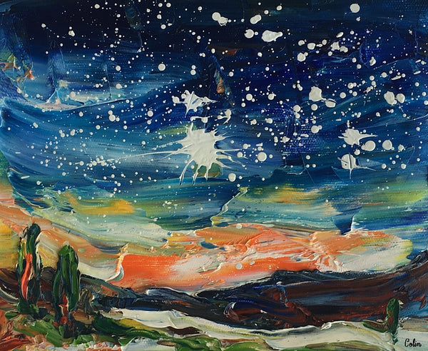 Landscape Painting, Starry Night Sky Painting, Small Oil Painting, Heavy Texture Oil Painting, 8X10 inch - artworkcanvas