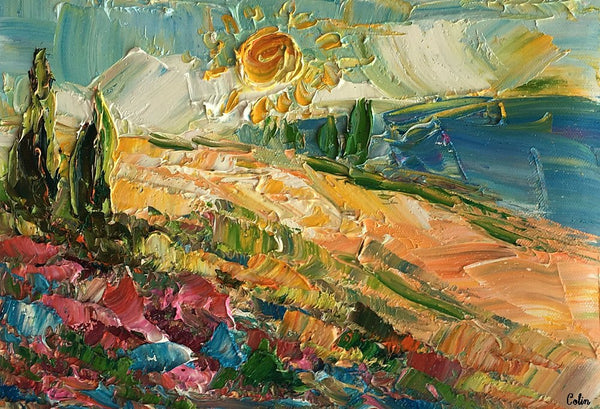 Abstract Art, Landscape Painting, Cypress Tree and Sun Painting, Small Oil Painting, Heavy Texture Oil Painting, 8X12 inch