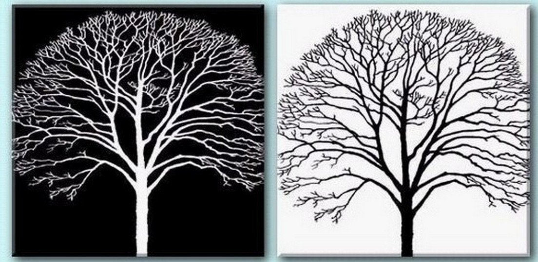 Tree Painting, Black and White Art, Abstract Art, Abstract Painting, Wall Art, Wall Hanging, Dining Room Wall Art, Modern Art, Hand Painted Art-artworkcanvas