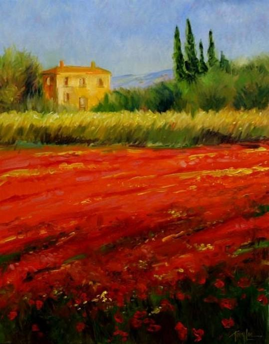 Flower Field, Wall Art, Large Oil Painting, Canvas Painting, Landscape Painting, Living Room Wall Art, Cypress Tree, Wall Painting, Canvas Art, Red Poppy Field-artworkcanvas