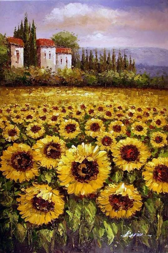 Autumn Art, Flower Field, Heavy Texture Painting, Landscape Painting, Living Room Wall Art, Cypress Tree, Oil Painting, Sunflower Field - artworkcanvas