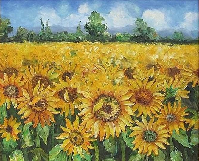 Flower Field, Canvas Painting, Landscape Painting, Wall Art, Large Painting, Living Room Wall Art, Sunflower Painting, Oil Painting, Canvas Art, Autumn Art - artworkcanvas
