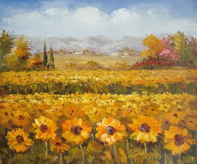 Flower Field, Wall Art, Large Oil Painting, Canvas Painting, Landscape Painting, Living Room Wall Art, Sunflower Painting, Wall Hanging, Canvas Art, Red Poppy Field - artworkcanvas
