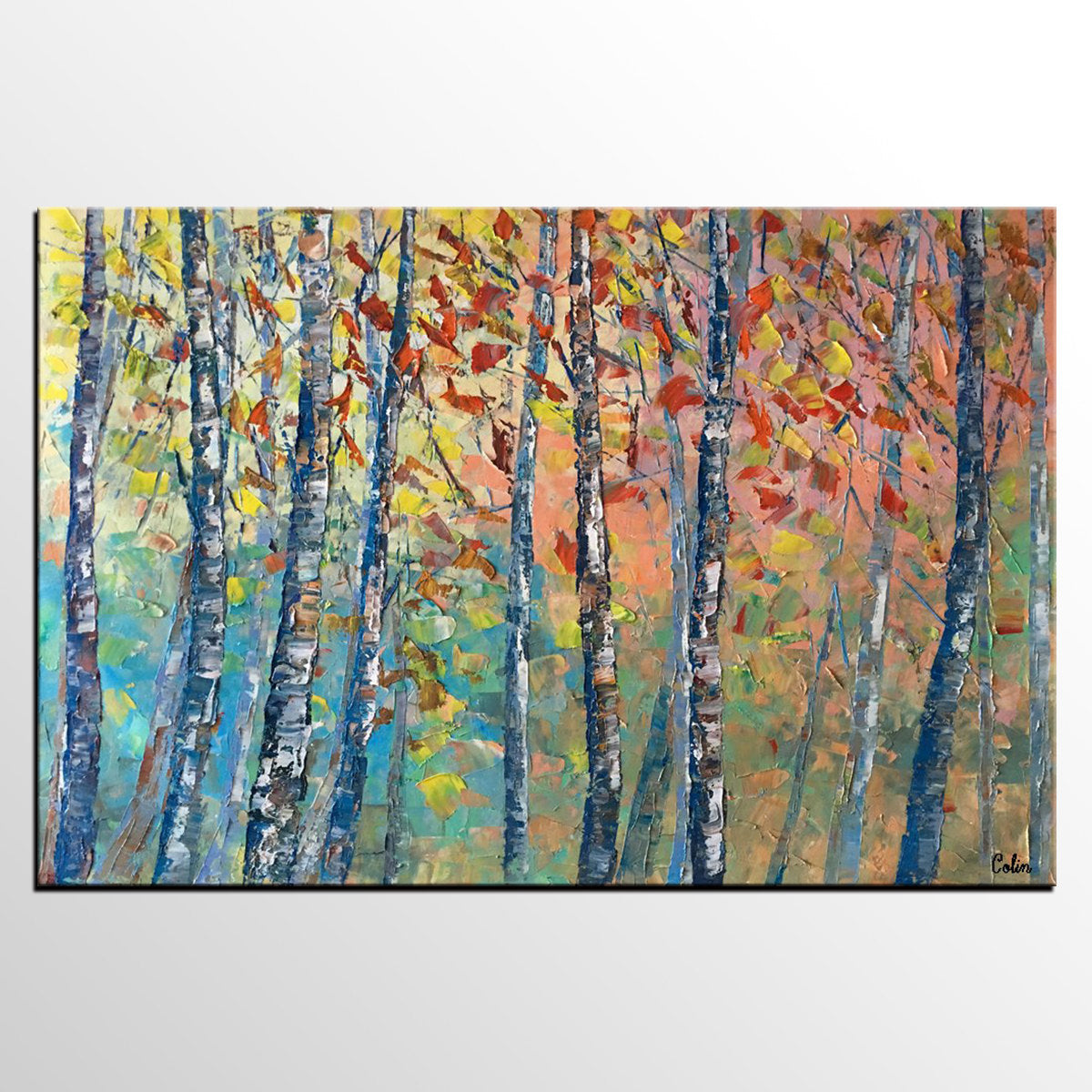 Birch Tree Painting, Landscape Painting, Original Wall Art, Canvas Art, Custom Large Oil Painting - artworkcanvas