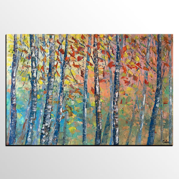Birch Tree Painting, Landscape Painting, Original Wall Art, Canvas Art, Oil Painting - artworkcanvas