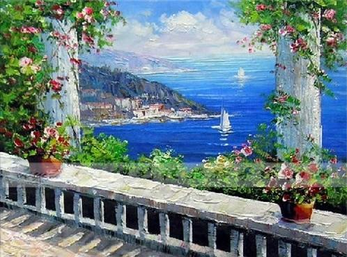 Canvas Painting, Landscape Painting, Wall Art, Canvas Painting, Large Painting, Bedroom Wall Art, Oil Painting, Canvas Art, Sailing Boat at Sea, Italy Summer Resort - artworkcanvas