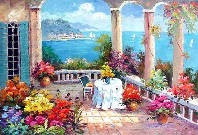 Canvas Painting, Landscape Painting, Mediterranean Sea Painting, Wall Art, Large Painting, Bedroom Wall Art, Oil Painting, Canvas Art, Seascape, Garden Art