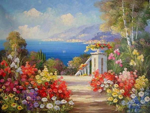Canvas Painting, Landscape Painting, Wall Art, Canvas Painting, Large Painting, Bedroom Wall Art, Oil Painting, Canvas Art, Garden Flower, Spain Summer Resort - artworkcanvas