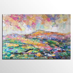 Abstract Mountain Landscape Painting, Custom Abstract Painting, Large Oil Painting, Heavy Texture Art - artworkcanvas