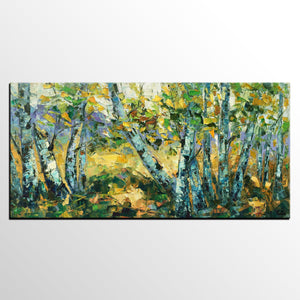 Abstract Landscape Art Painting, Custom Canvas Wall Art, Autumn Tree Painting, Impression Painting - artworkcanvas