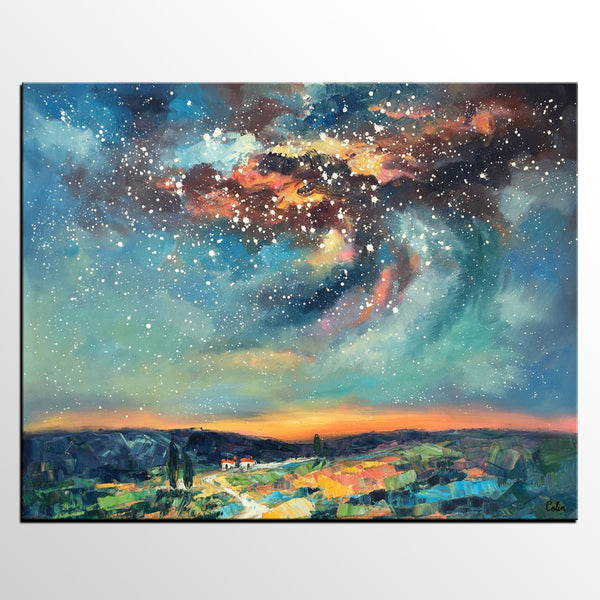 Landscape Painting, Custom Large Canvas Wall Art, Starry Night Sky Canvas Painting, Heavy Texture Wall Art - artworkcanvas