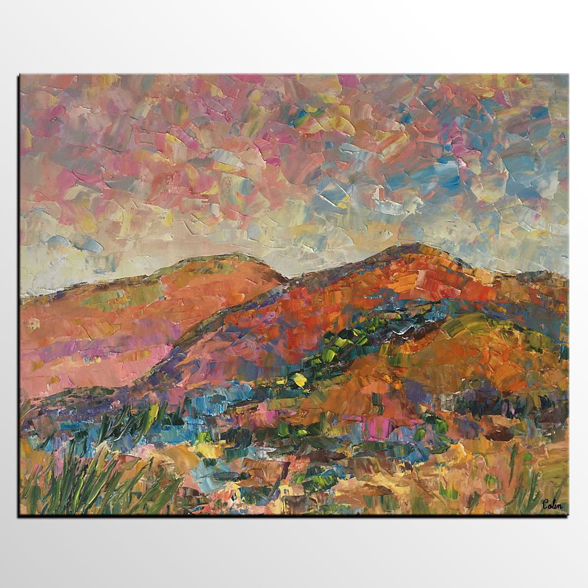 Abstract Landscape Oil Painting, Original Artwork, Autumn Mountain Painting, Canvas Painting