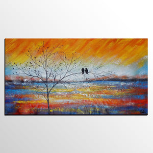 Acrylic Painting Love Birds Painting Living Room Wall Art Abstract