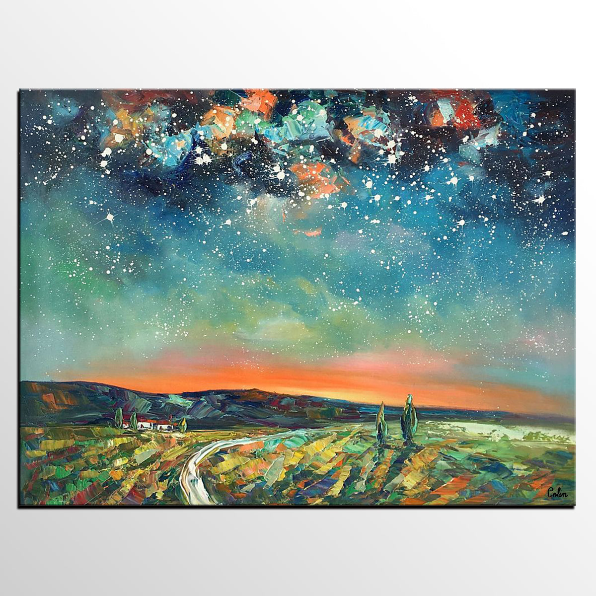 Abstract Landscape Oil Painting, Starry Night Sky Painting, Large Canvas Painting, Heavy Texture Painting