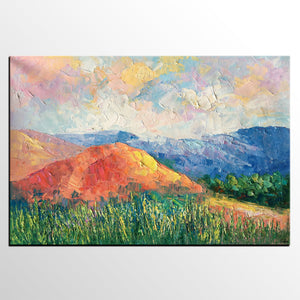 Abstract Art Painting, Mountain Landscape Painting, Landscape Oil Pain