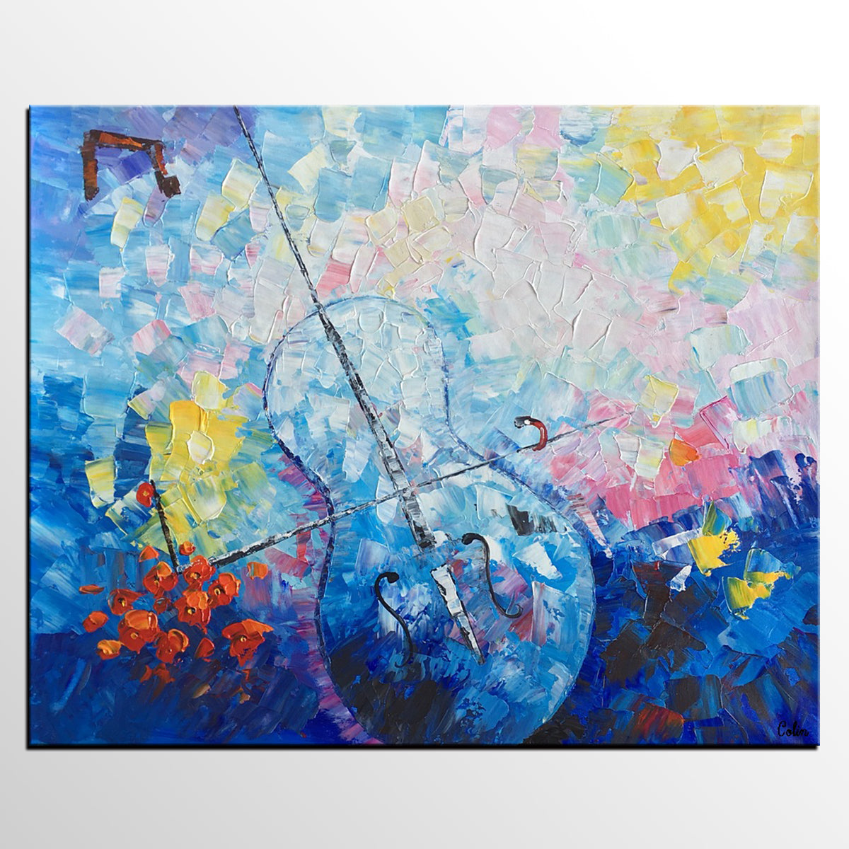 Canvas Artwork, Canvas Painting, Abstract Art Painting, Violin Music Oil Painting