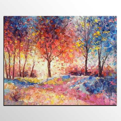 Landscape Painting, Original Artwork, Autumn Tree Oil Painting, Abstract Canvas Wall Art