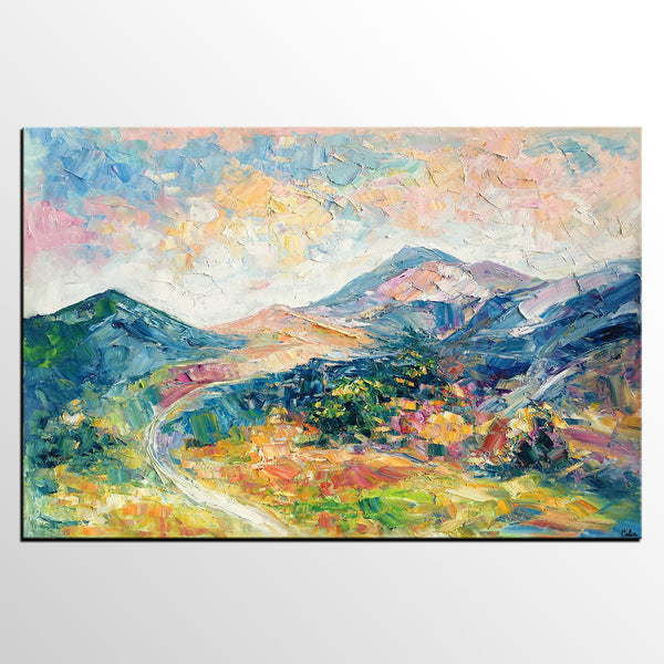 Abstract Art Painting for Bedroom, Mountain Landscape Painting, Contemporary Art for Bedroom-artworkcanvas