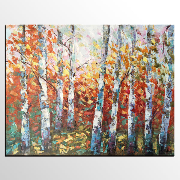 Oil Painting, Autumn Birch Tree Painting, Canvas Art for Bedroom, Canvas Painting