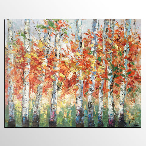 Abstract Landscape Art, Large Art, Canvas Art, Wall Art, Birch Tree Artwork, Canvas Painting - artworkcanvas