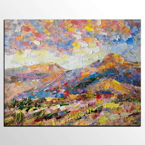 Abstract Canvas Oil Painting, Mountain Landscape Painting, Custom Large Canvas Painting - artworkcanvas