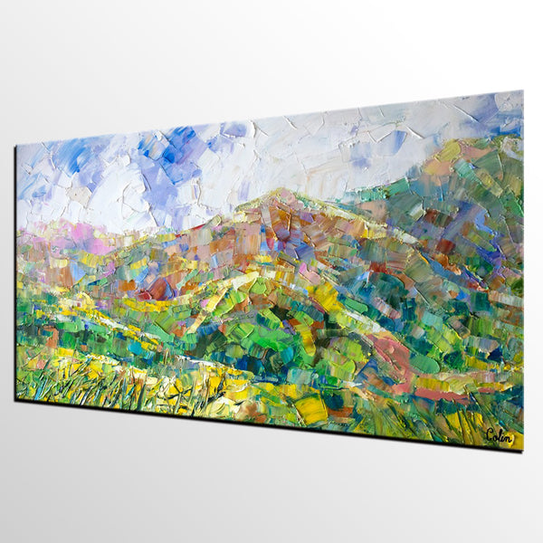 Abstract Landscape Painting, Spring Mountain Painting, Custom Large Canvas Wall Art, Abstract Painting-artworkcanvas