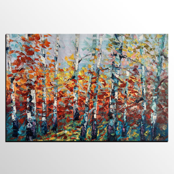 Landscape Painting, Autumn Forest Tree Painting, Canvas Wall Art, Custom Extra Large Art, Abstract Oil Painting, Original Painting - artworkcanvas