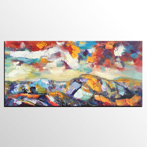 Autumn Mountain Painting, Original Art, Custom Extra Large Art, Canvas Art, Canvas Artwork-artworkcanvas