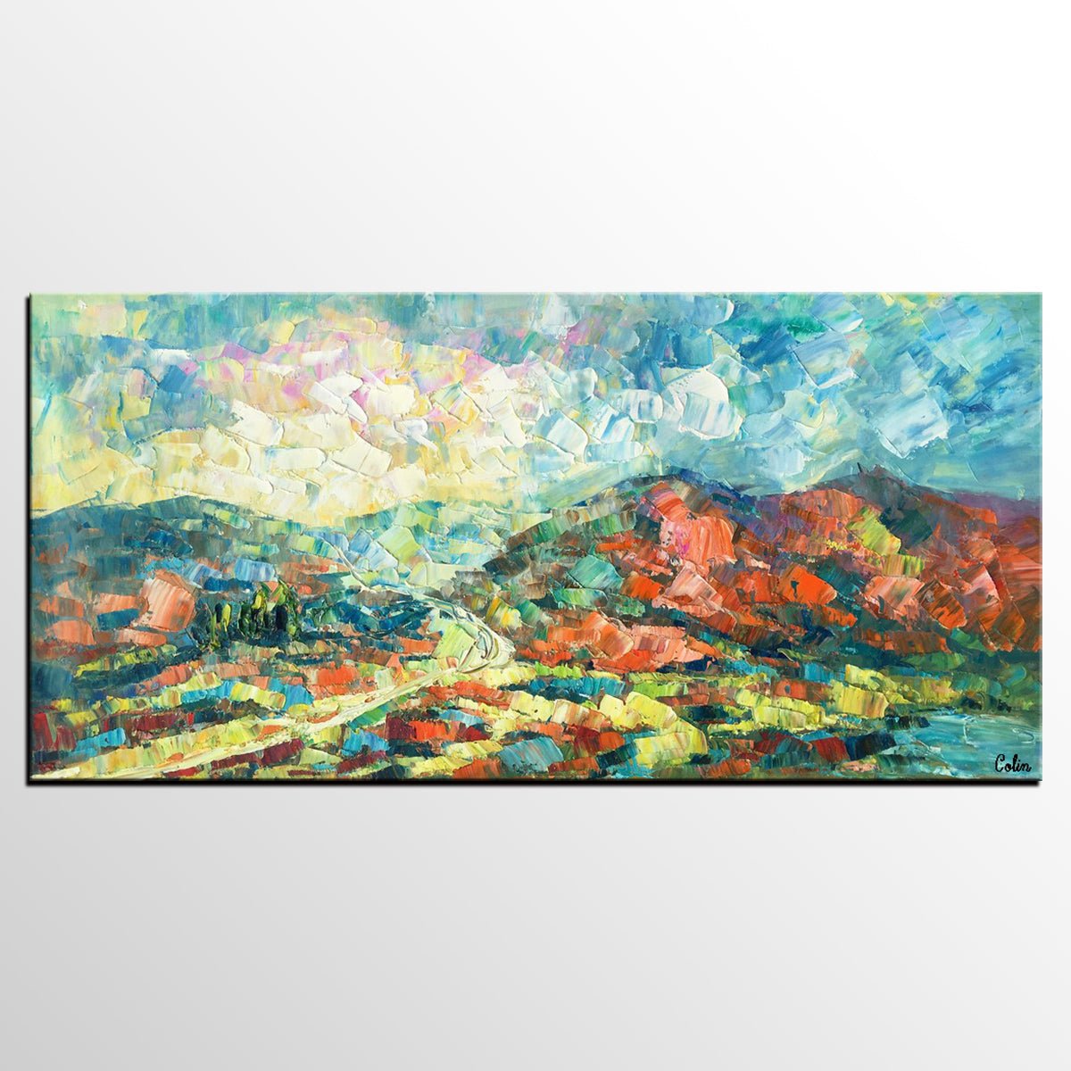 Original Wall Art, Mountain Landscape Painting, Large Wall Art, Original Artwork, Canvas Painting - artworkcanvas
