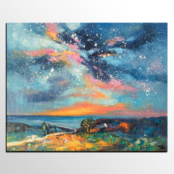 Original Painting, Starry Night Sky Painting, Original Artwork, Custom Large Canvas Painting, Art on Canvas - artworkcanvas