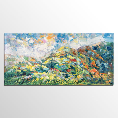 Spring Mountain Landscape Painting, Canvas Artwork, Original Artwork, Custom Extra Large Art - artworkcanvas