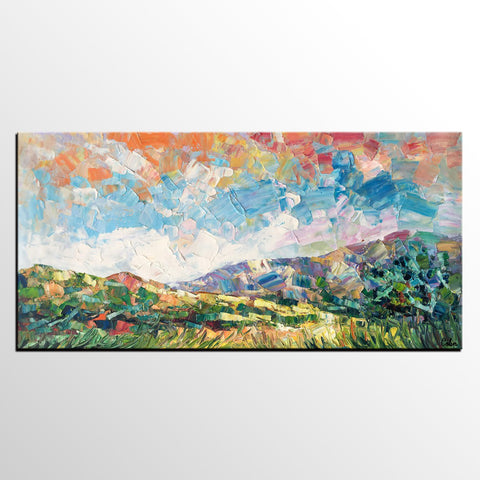 Spring Mountain Landscape Painting, Custom Extra Large Painting, Canvas Artwork, Original Artwork - artworkcanvas